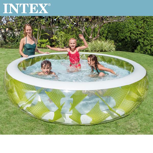 【INTEX】風車透明戲水游泳池(229*56cm)(690L) 適用6歲+ (57182)