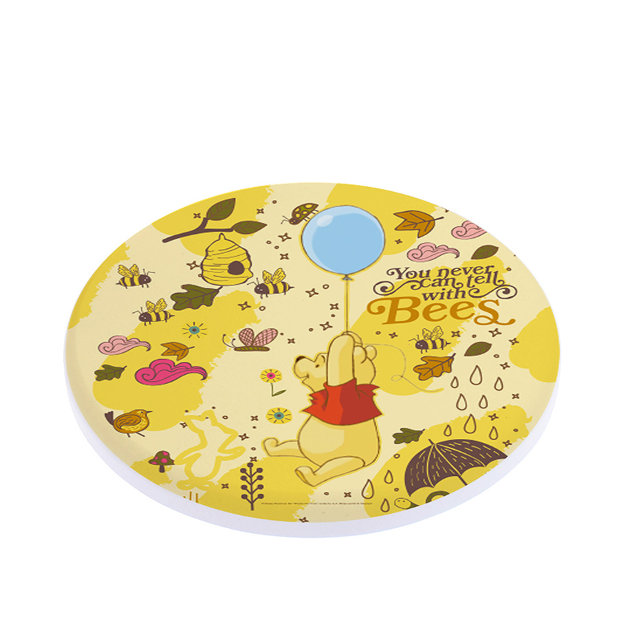【一組同款2入】迪士尼Disney 小熊維尼珪藻土吸水杯墊(維尼氣球-黃)