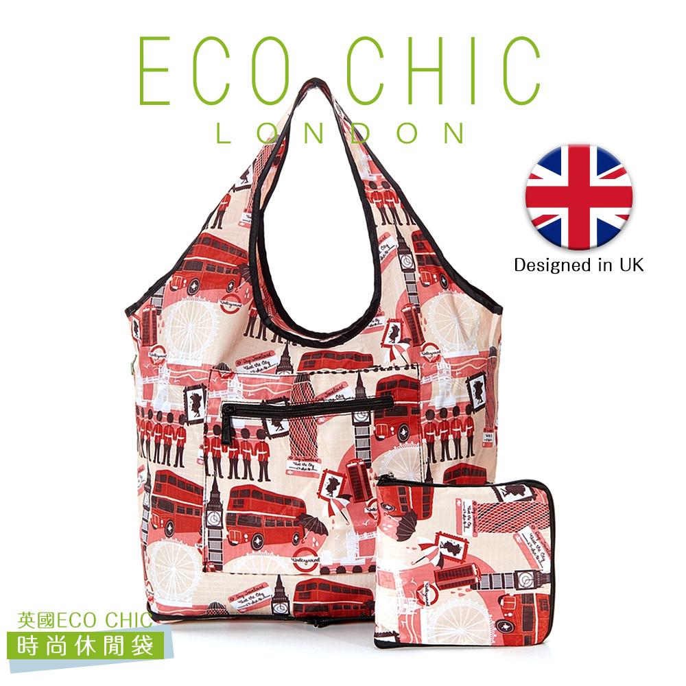 英國ECO CHIC時尚可折疊休閒袋-英倫紅
