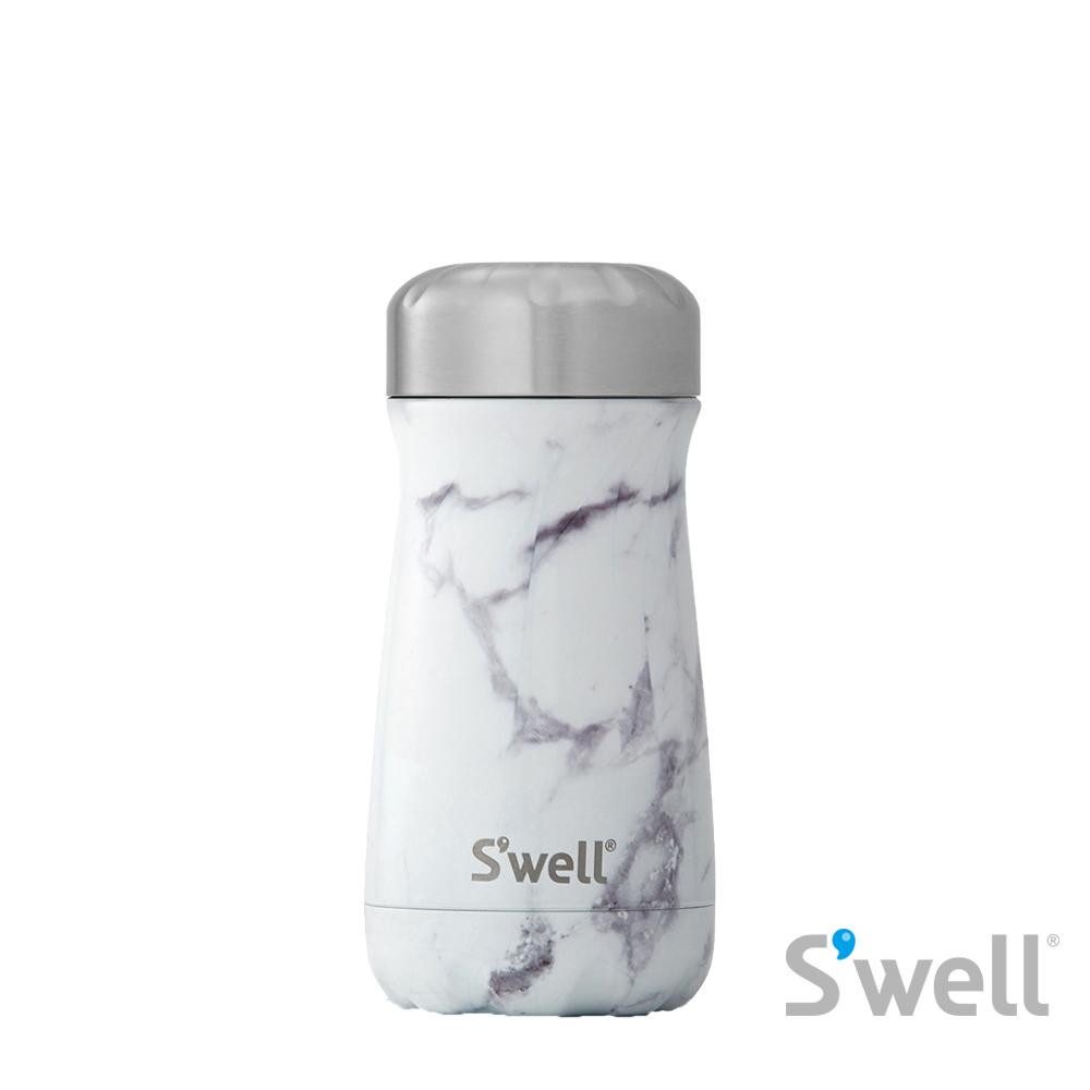 【S'well】紐約時尚不鏽鋼保冷保溫瓶-Traveler系列 White Marble 12oz(355ml)