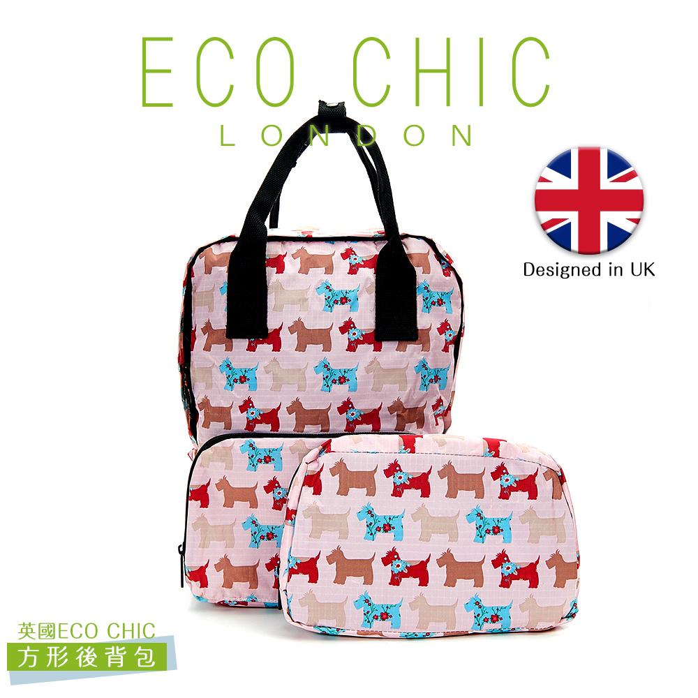 英國ECO CHIC時尚可折疊方形後背包-雪納粉