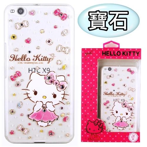 【Hello Kitty】HTC One X9 彩鑽透明保護軟套(寶石)