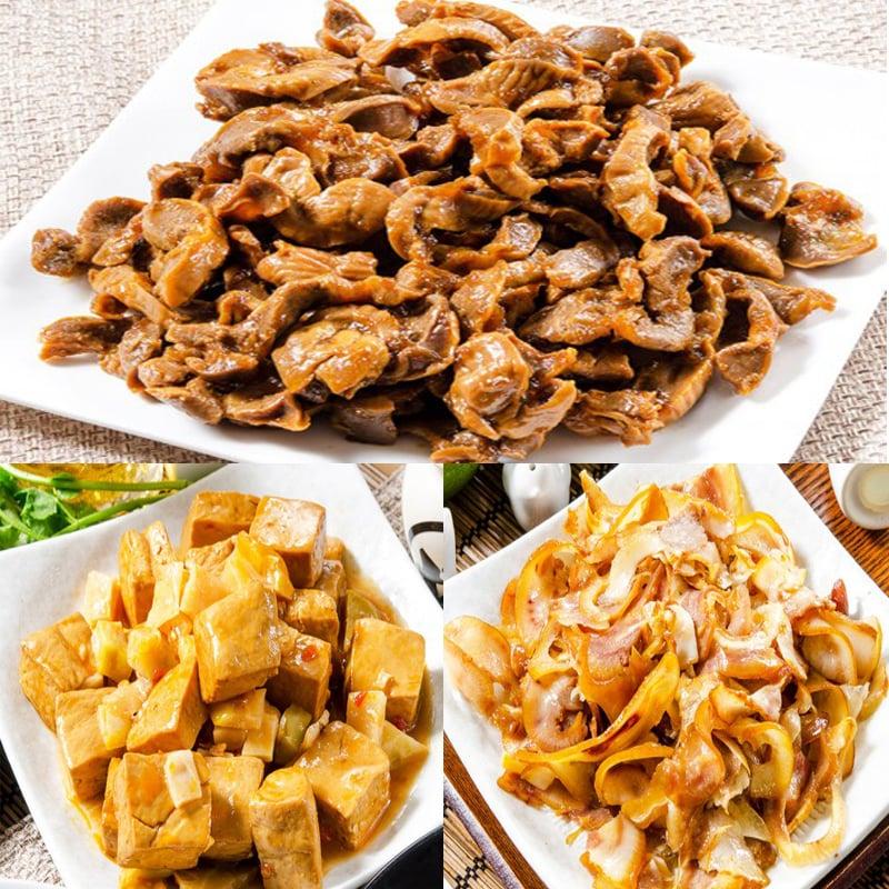 【鮮綠生活】即食美味組(小方干+豬耳絲+滷雞胗 各2包) /1組