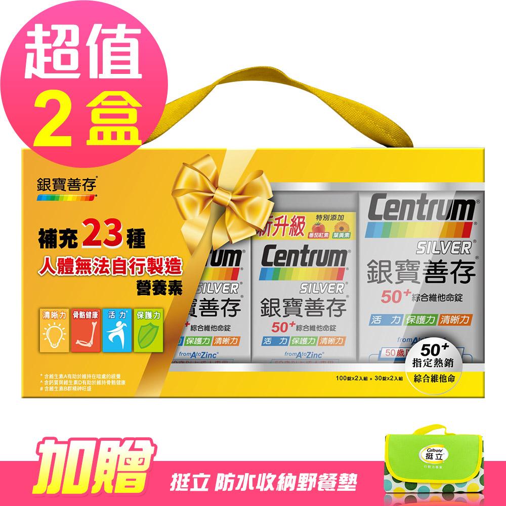 【新升級善存】銀寶善存禮盒x2盒(260錠/盒)-加贈 戶外野餐墊乙個