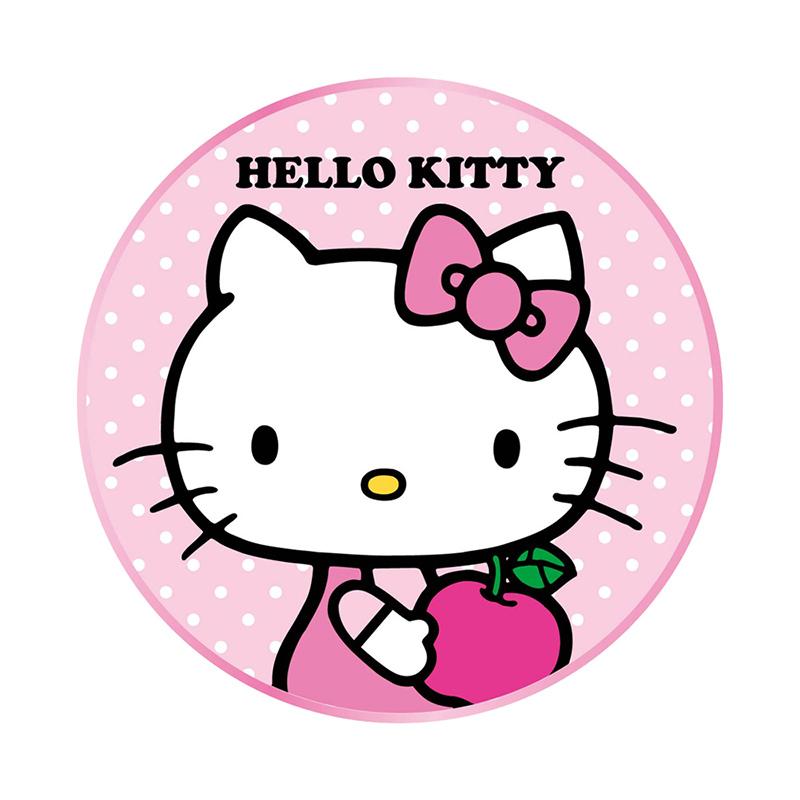 【正版授權】Hello Kitty 金屬邊框玻璃面無線充電盤-蘋果(隨機搭贈同品牌充電頭)
