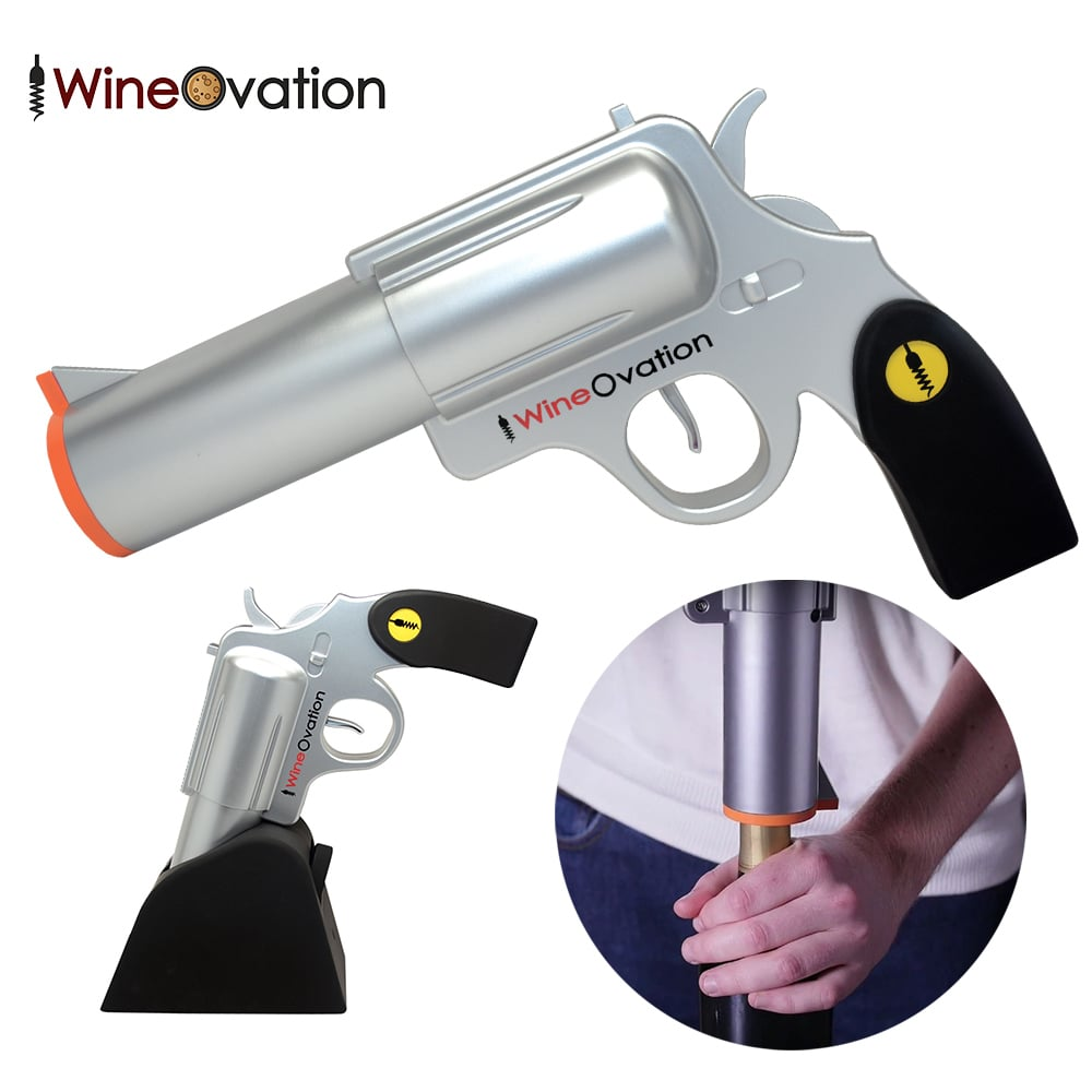 【美國WINE OVATION】 手槍造型電動開瓶器 / 紅酒開瓶器 (銀色)