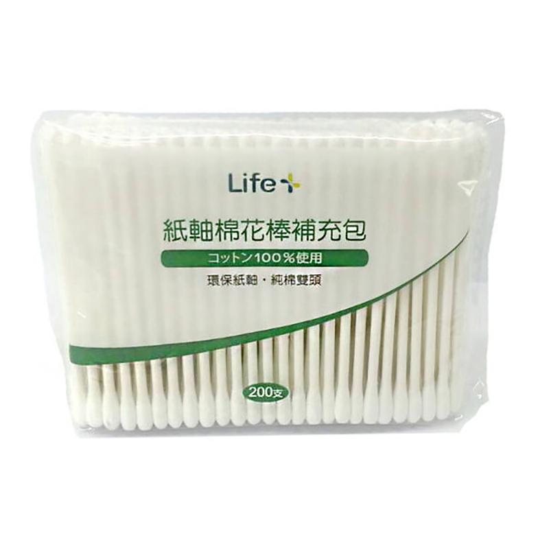 Life紙軸棉花棒補充包(200支/瓶)*6包【躍獅連鎖藥局】