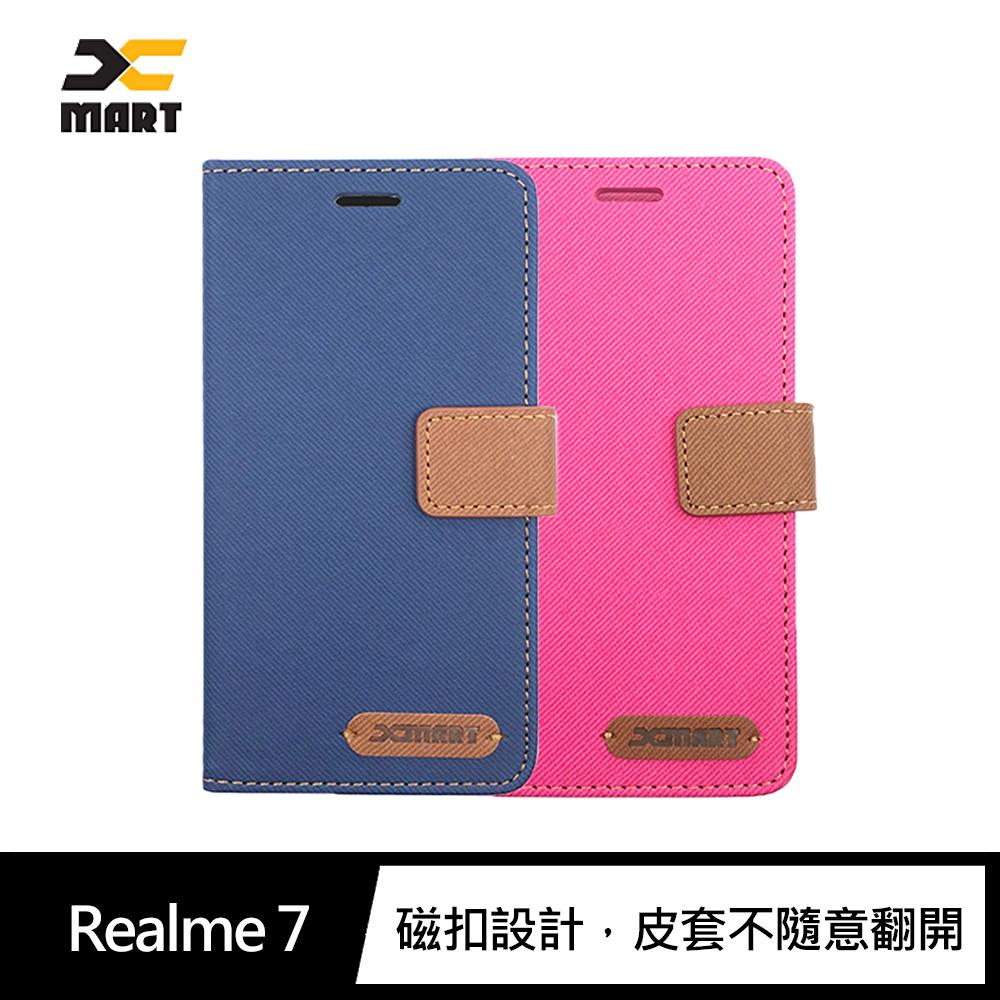 XMART Realme 7 斜紋休閒皮套(桃紅)