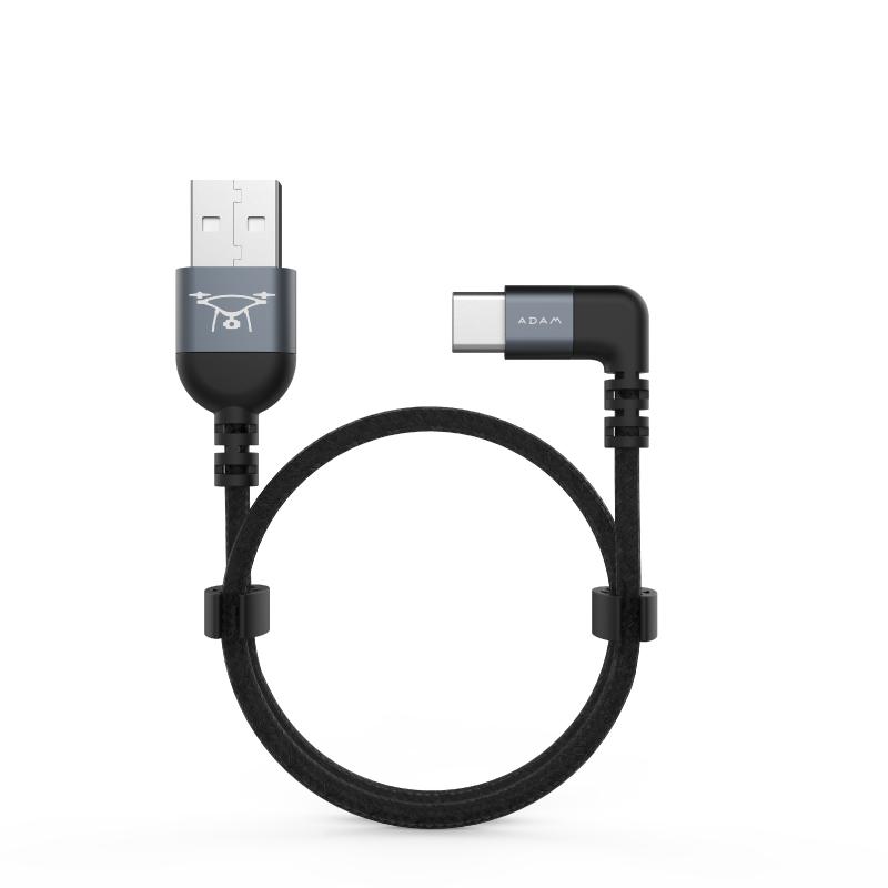 ADAM 90°彎頭L型 USB-C to USB 傳輸線 0.3M - 灰 C30B