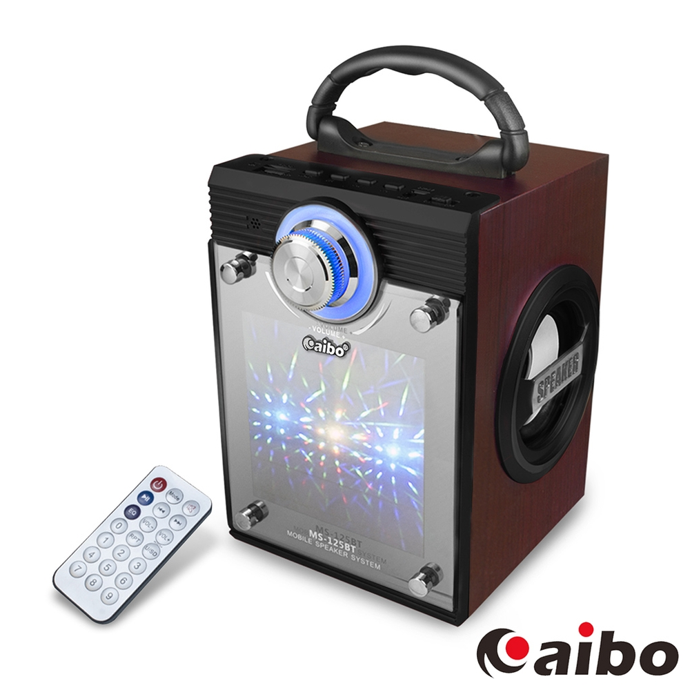 aibo L125 可遙控多功能 手提木質無線藍牙喇叭(AUX/隨身碟/TF卡/FM)-黑色