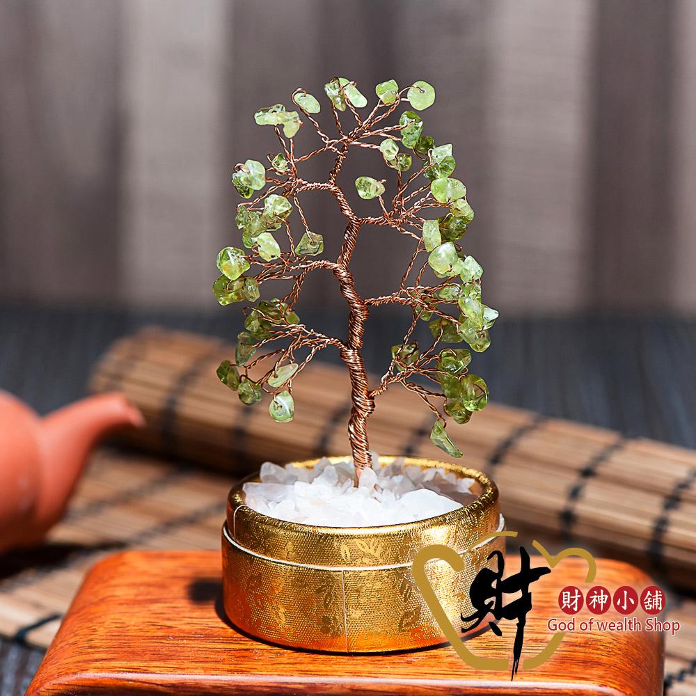 財神小舖 精巧水晶發財樹 橄欖石(小) (含開光) EM-7003