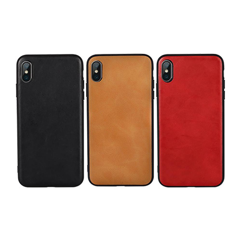 JISONCASE Apple iPhone Xs Max 真皮保護殼(紅色)