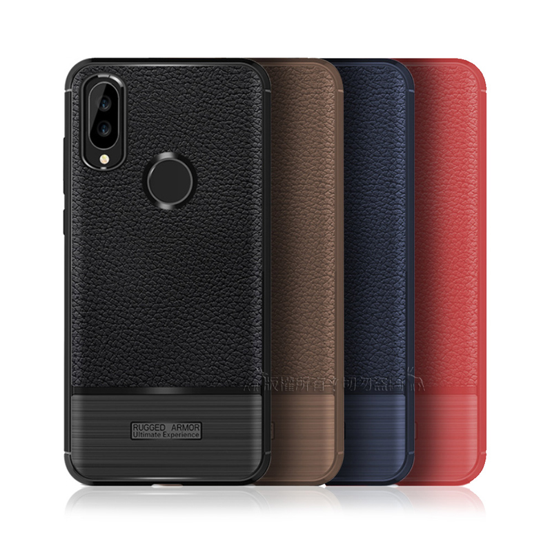 VXTRA 華為 Huawei Nova 3e 防滑手感皮紋 軟性手機殼 (巧克咖)