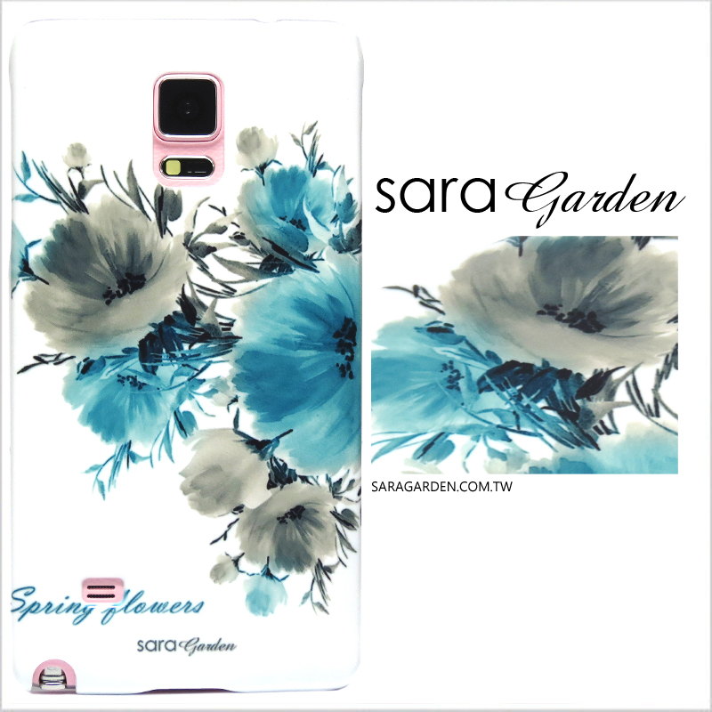 【Sara Garden】客製化 手機殼 三星 Note3 水彩 大花 湖水藍 保護殼 硬殼 限定
