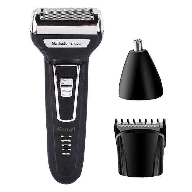 【KEMEI】三合一多功能充電式刮鬍刀/理髮器/鼻毛器 KM-6558