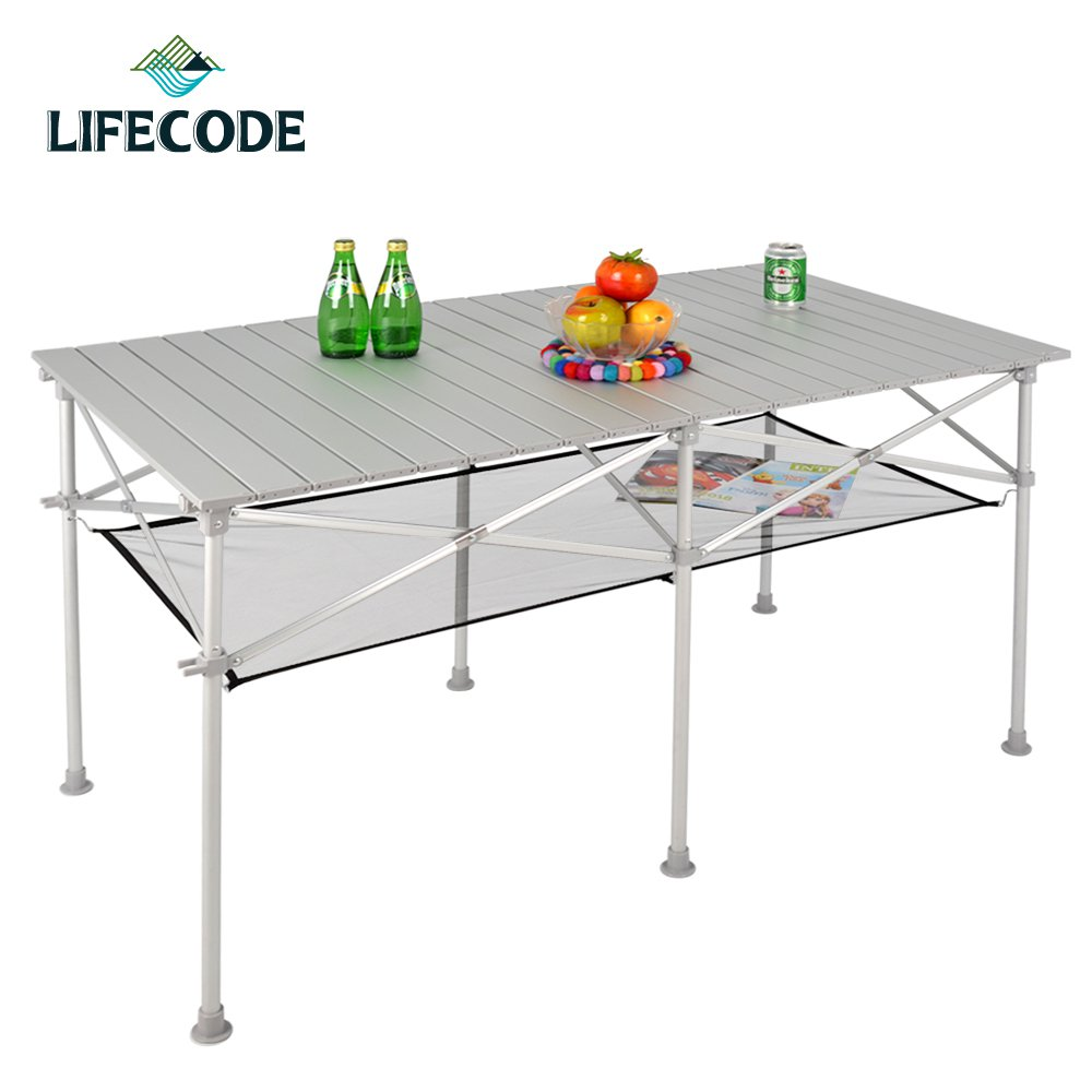 【LIFECODE】長型鋁合金蛋捲桌/折疊桌124x70cm (附桌下網+提袋)