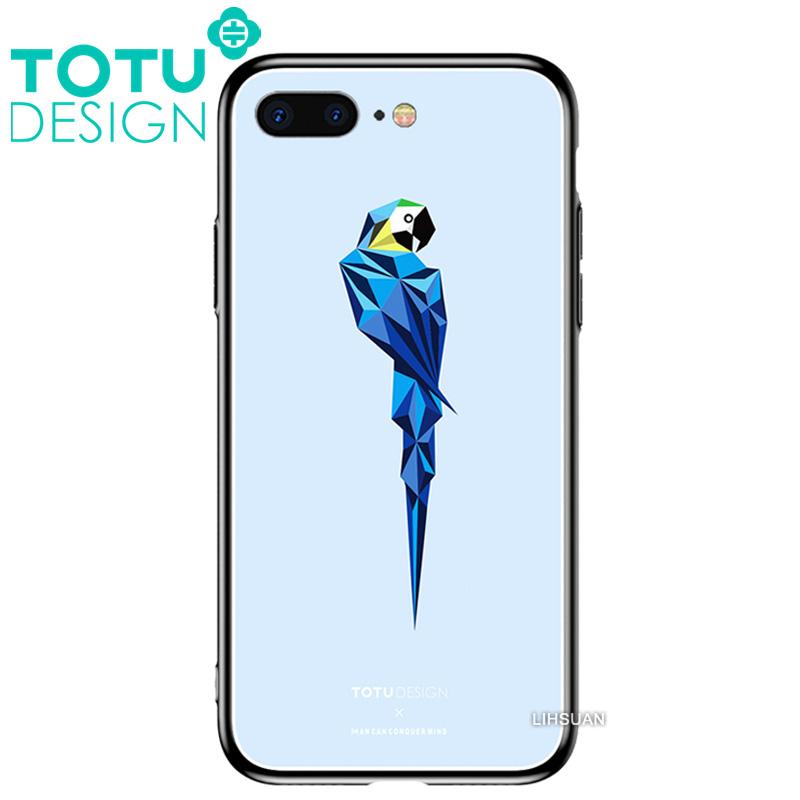 【TOTU台灣官方】鋼化 玻璃 背板 iphone7plus iphone8plus i7+ i8+ 手機殼 防摔殼 四角 全包 軟邊 掛繩孔 可愛 鸚鵡