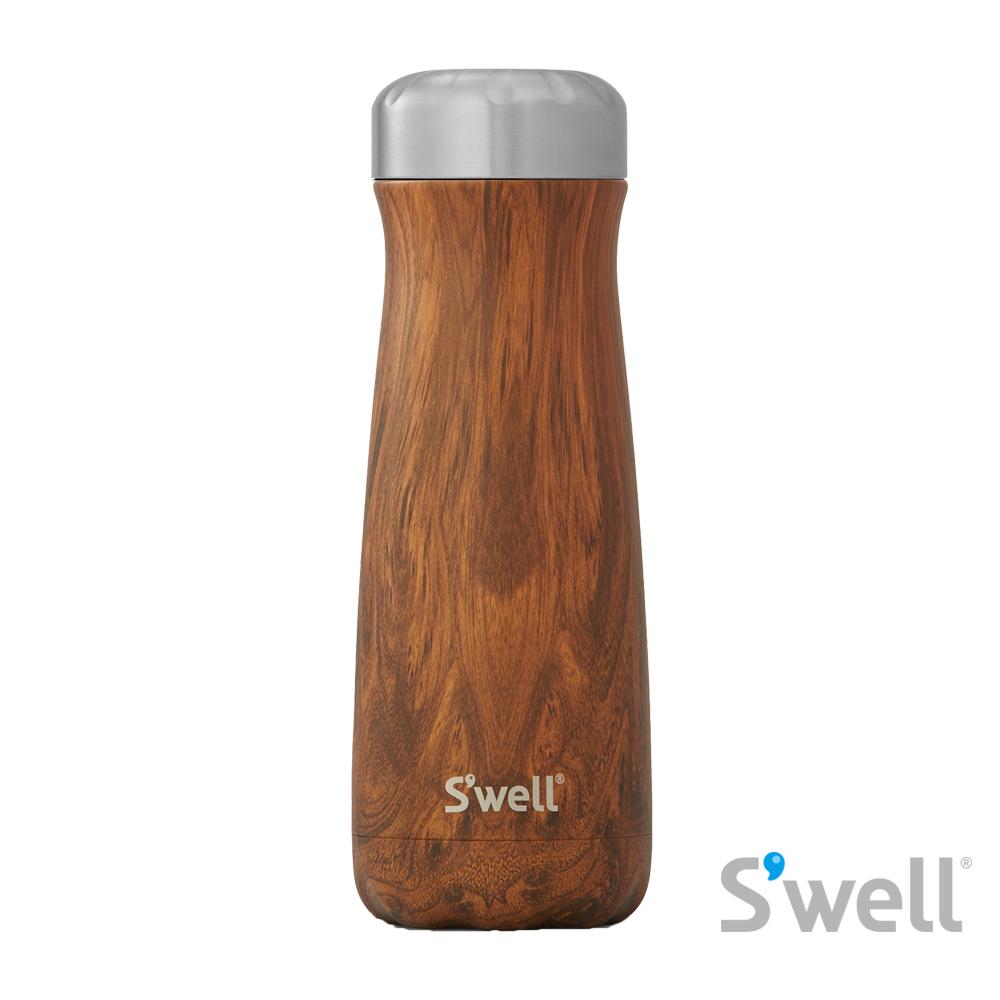 【S'well】紐約時尚不鏽鋼保冷保溫瓶-Traveler系列 Teakwood 20oz(590ml)
