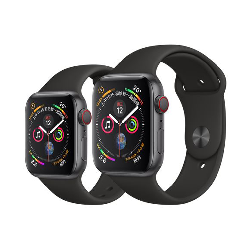 Apple Watch Series4 GPS+Cellular版 太空灰鋁金屬錶殼配黑色運動型錶帶 44mm (MTVU2TA/A)