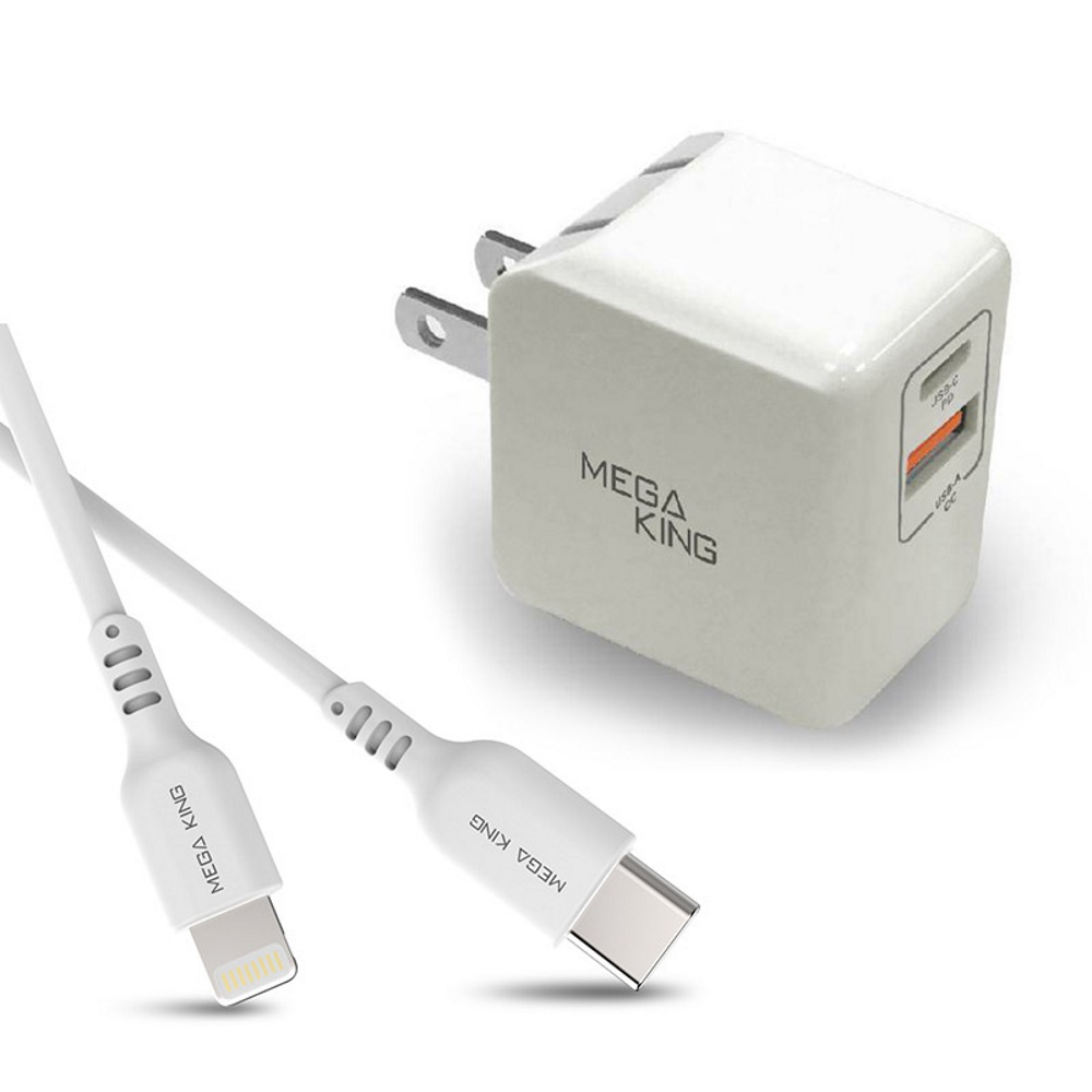 MEGA KING C to Lightning傳輸充電線 白+MEGA KING 雙輸出旅充頭18W (A+C) PD/QC 白