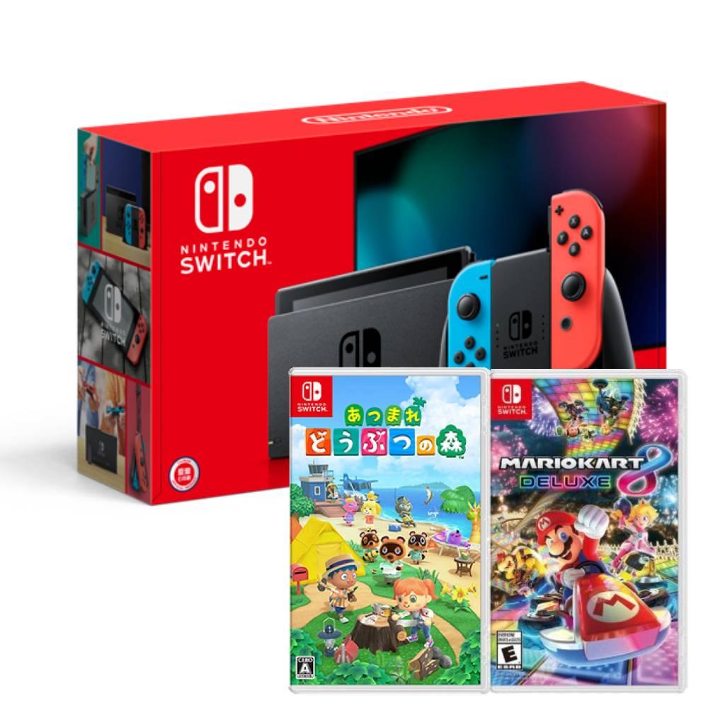 【預購】Nintendo Switch主機電光紅藍(電池加強版)+瑪利歐賽車8豪華版+動物森友會中文版