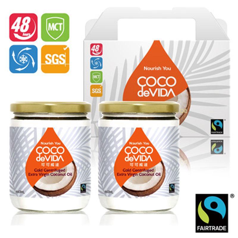 【可可威達】公平貿易天然冷離心初榨椰子油禮盒組443ML*2瓶
