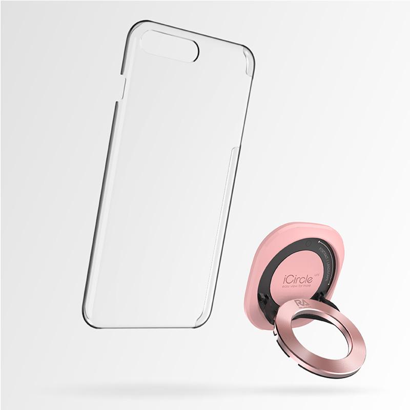 【Rolling Ave.】iCircle Uni iPhone 8 / 7 多功能支架保護殼 - 粉色玫瑰金環