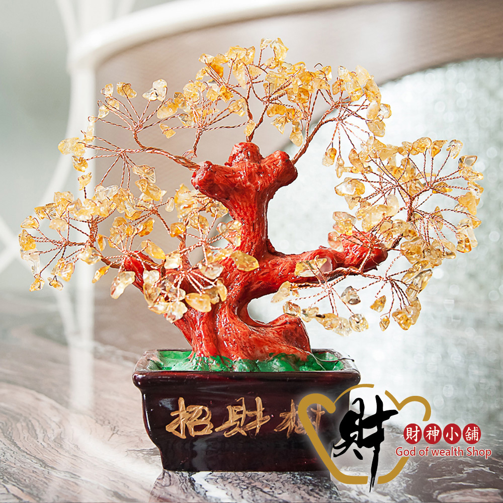 財神小舖 花開富貴 開運黃水晶招財樹 (含開光) EM-8005