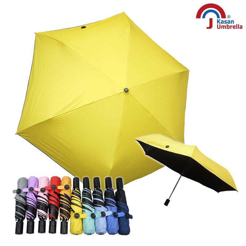 【Kasan 晴雨傘】抗風防晒黑膠自動小黑傘-亮黃