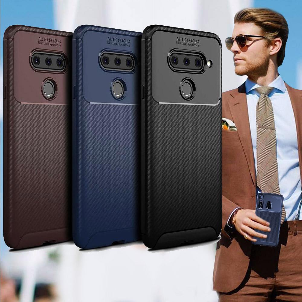 爵士焦點 LG V40 ThinQ 碳纖維防指紋軟式手機殼(西洋藍)
