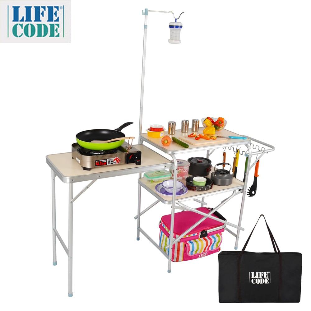 【LIFECODE】鋁合金折疊野餐料理桌(附燈架+送背袋)