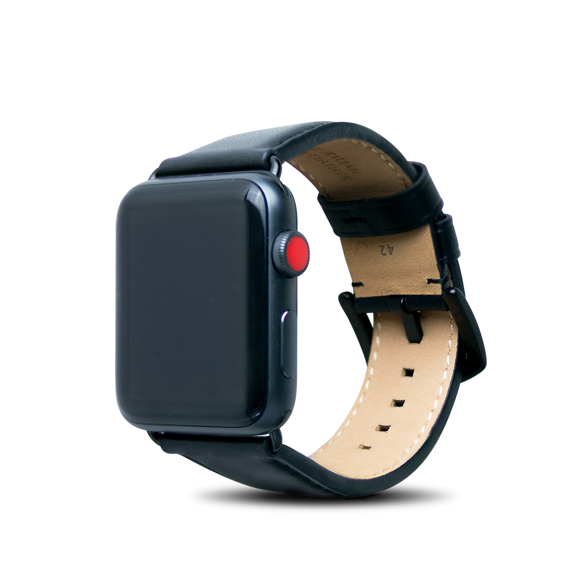 Apple Watch 44/42mm 皮革錶帶 - 渡鴉黑