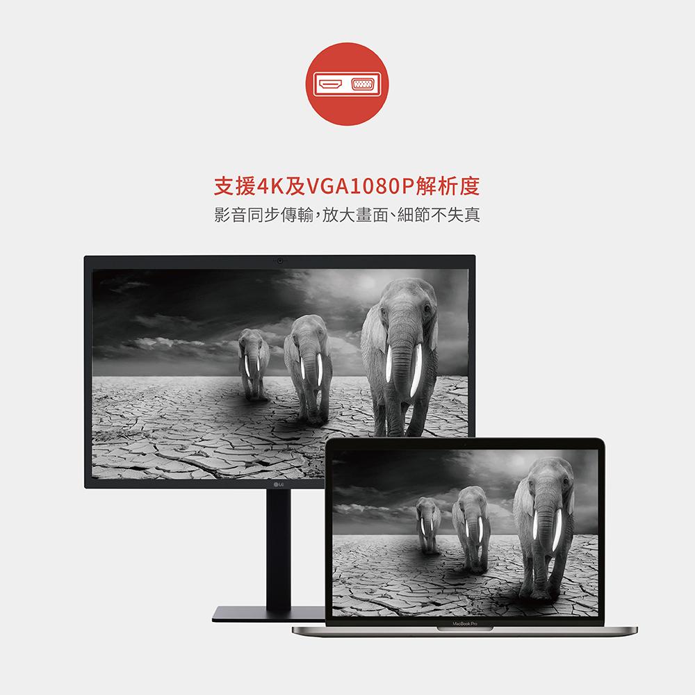 【Soodatek】type C TO HDMI+VGA(SCDHV-AL4K1KSI) 鋁合金轉接器