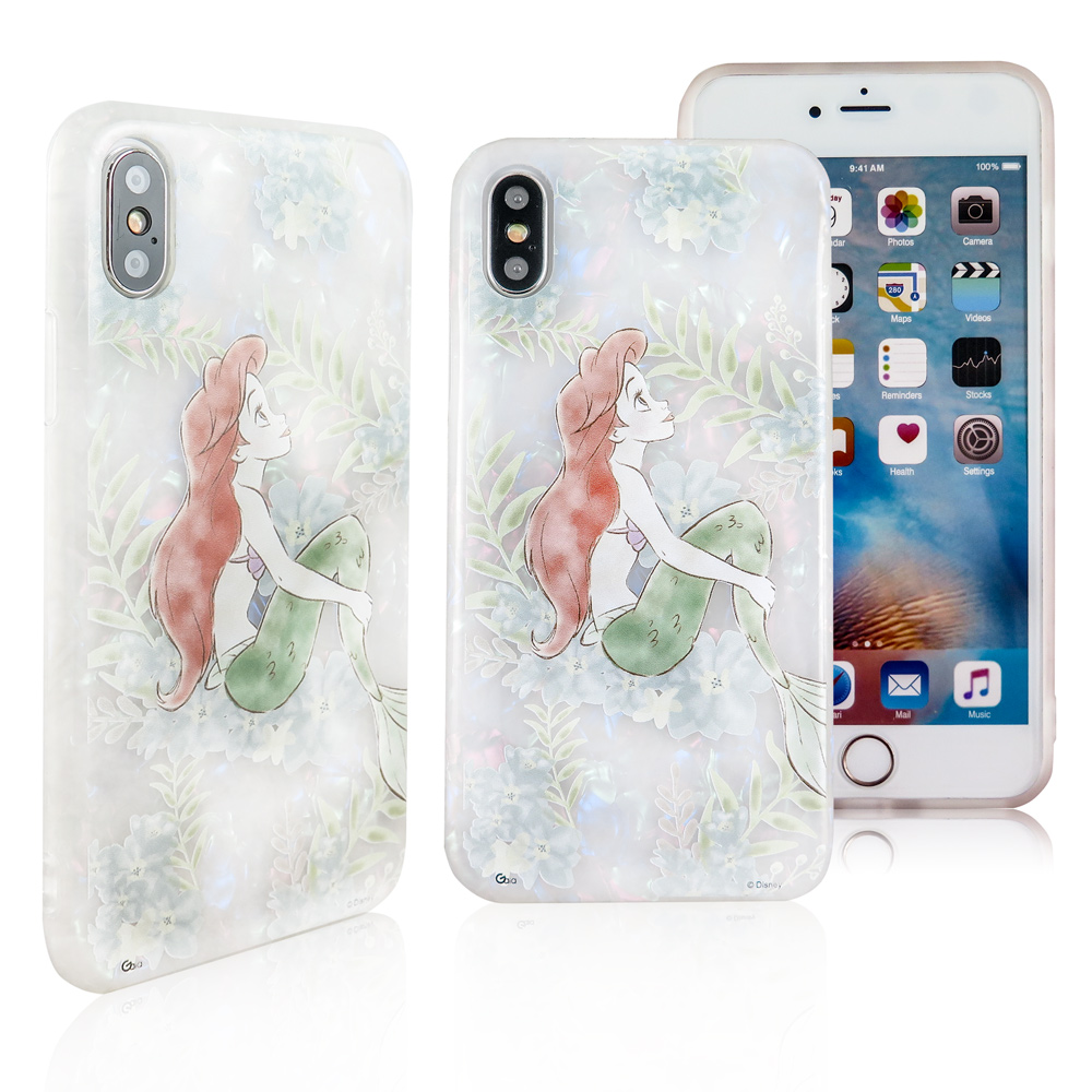 Disney迪士尼iPhone X/Xs五彩貝殼系列手機殼_花朵小美人魚