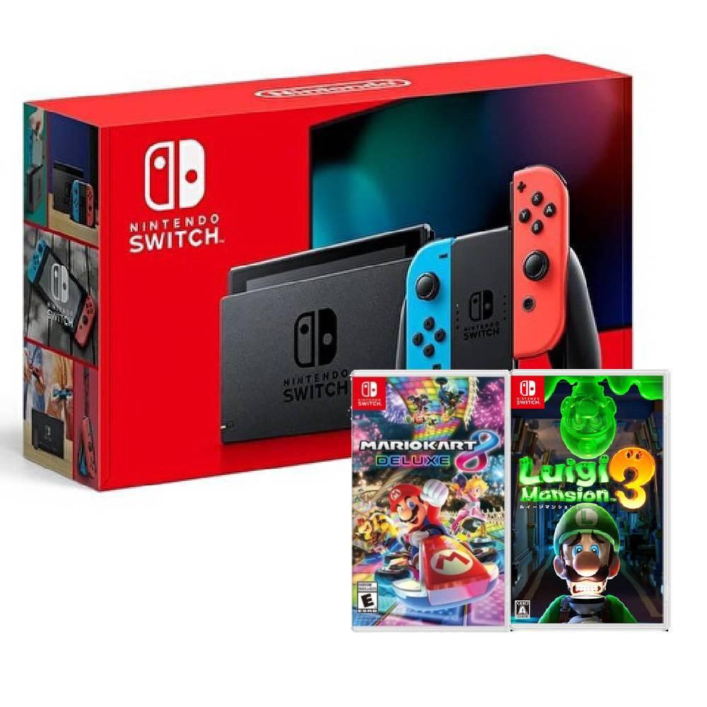 【預購】Nintendo Switch 主機 電光紅藍 (電池加強版)+瑪利歐賽車 8 豪華版 中文版+路易吉洋樓 3 中文版