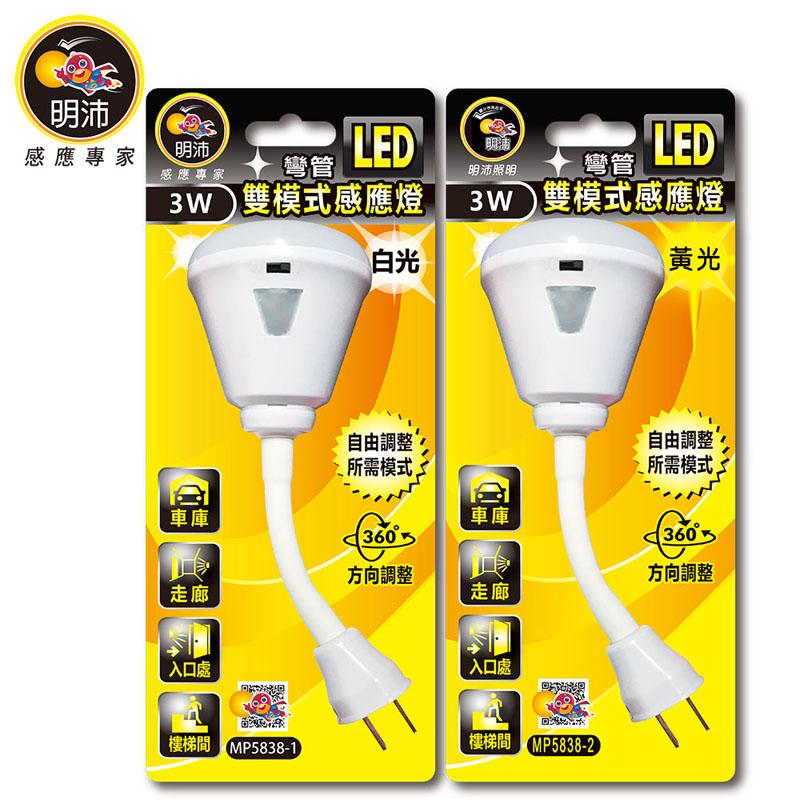 明沛 彎管LED雙模式感應小夜燈