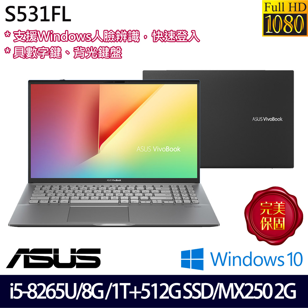 【硬碟升級】《ASUS 華碩》S531FL-0102G8265U(15.6吋FHD/i5-8265U/8G/1T+512G PCIESSD/MX250)