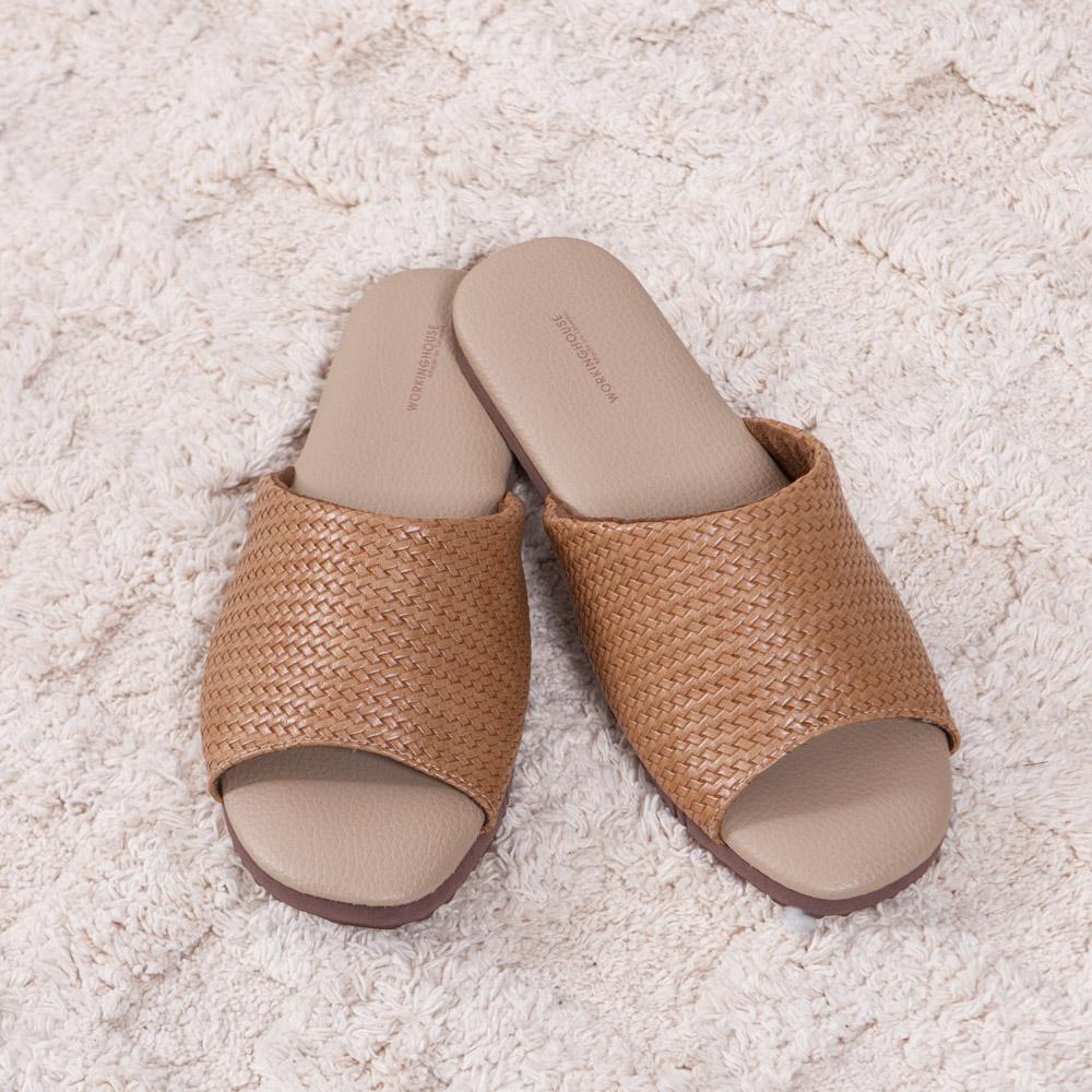 卡其編織紋皮拖鞋-M-生活工場