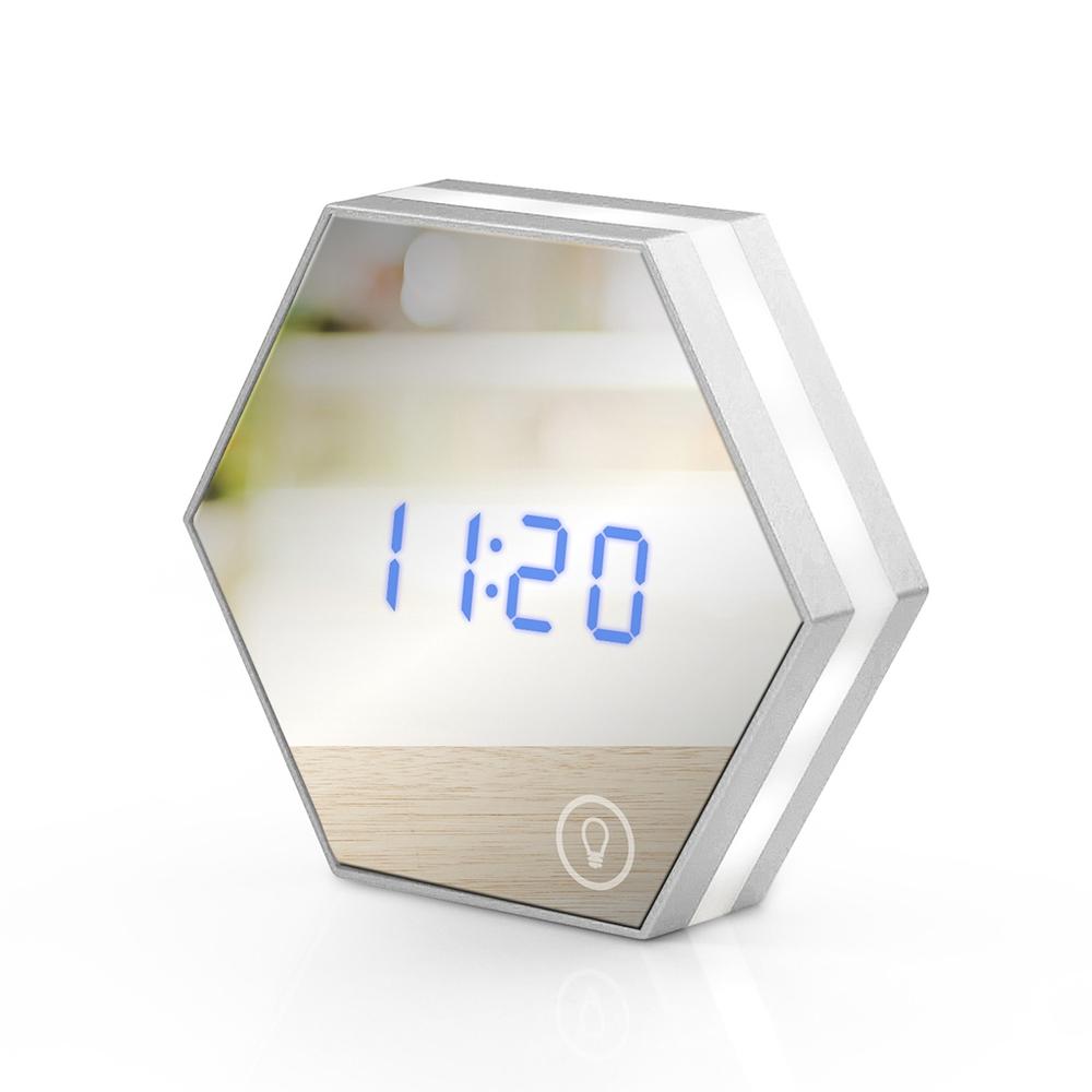 USB充電式 六角形可調光鏡子鬧鐘-銀色