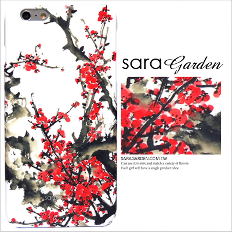 【Sara Garden】客製化 手機殼 蘋果 iPhone 6plus 6SPlus 質感 潑墨 水彩 櫻花 保護殼 硬殼 限定
