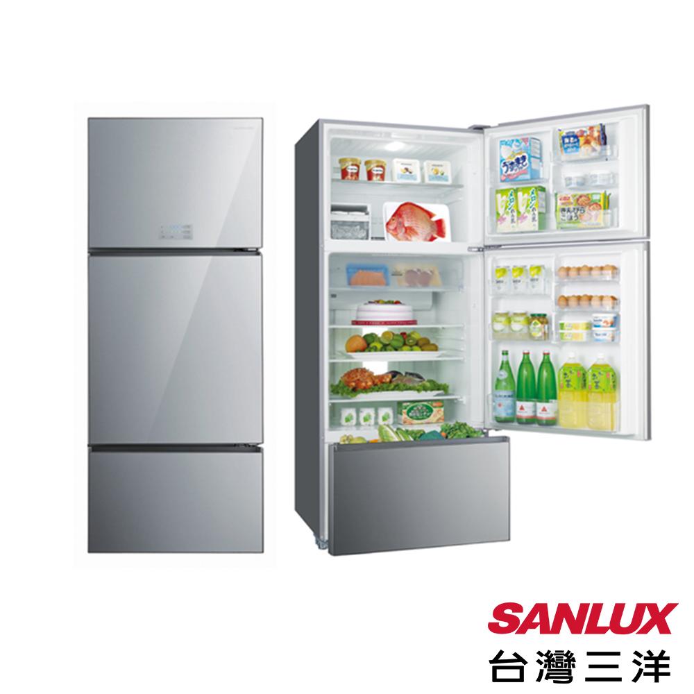 台灣三洋 SANLUX 一級能效 528L無邊框采晶玻璃三門直流變頻冰箱-星光銀 SR-C528CVG