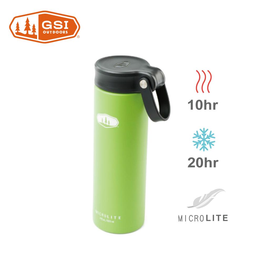 【美國GSI】輕量單手提環不鏽鋼保溫瓶-0.5L鮮梨綠