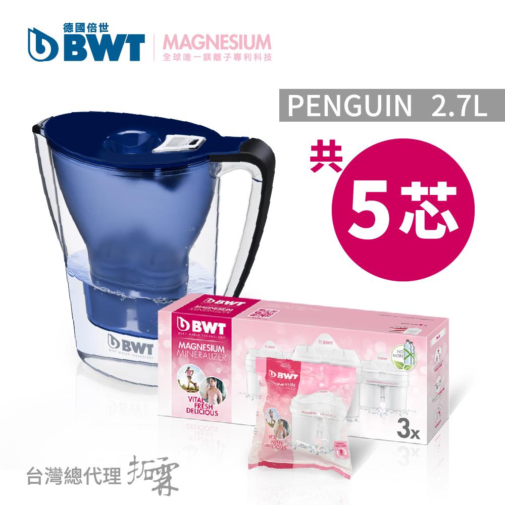 【BWT 德國倍世】Penguin 2.7L 鎂離子健康濾水壺+鎂離子長效濾芯環保包(3+1入).藍