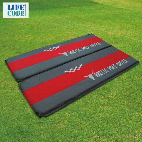 【APC】豪華加厚可拼接自動充氣睡墊(190*60*厚5cm)-紅灰配色(2入組)