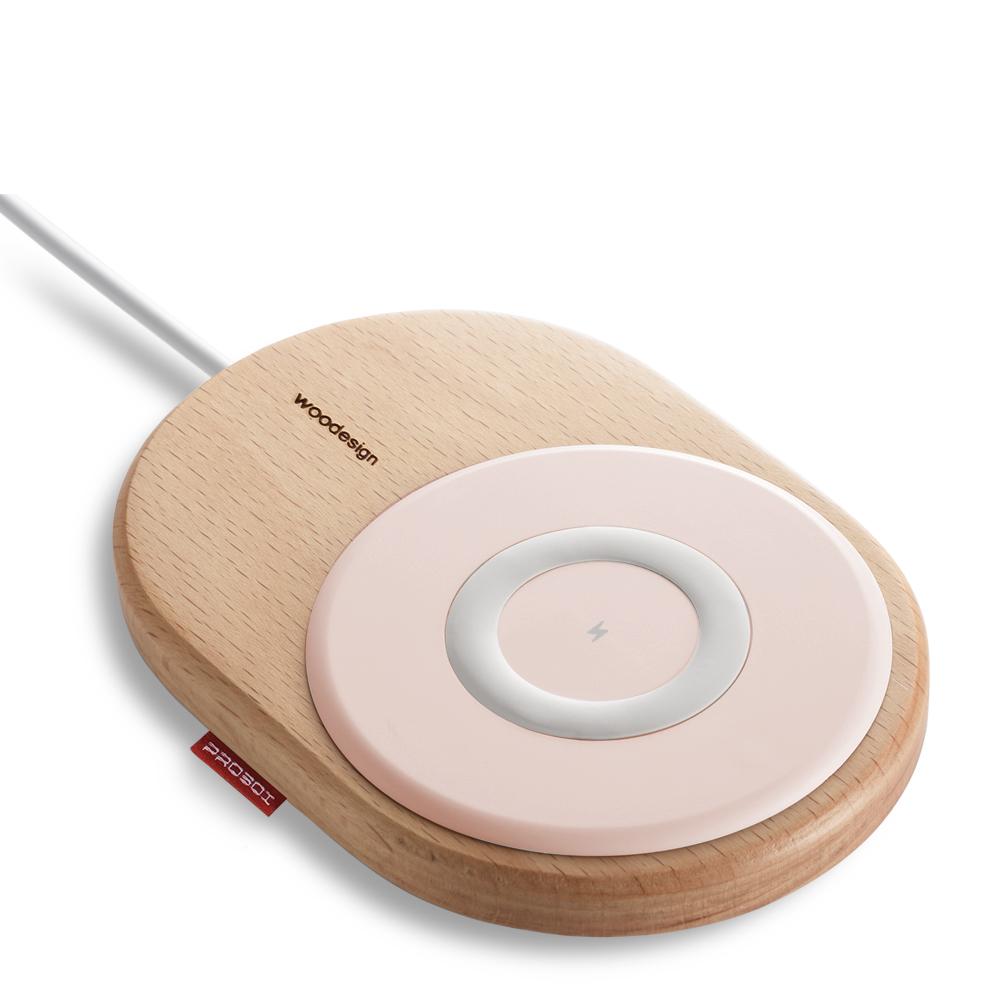 PROBOX 15W 北歐風木質無線充電板-粉紅色