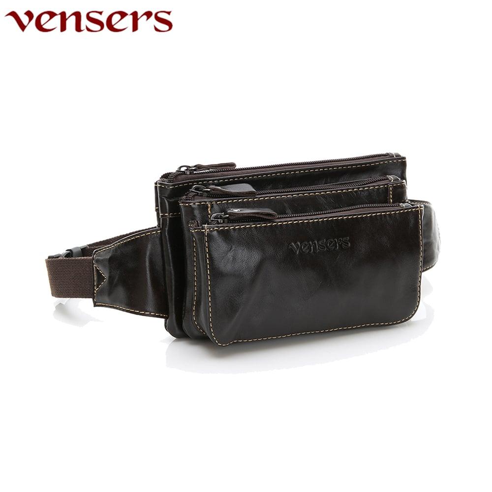 【vensers】小牛皮潮流個性包~腰包(N20101黑油皮)