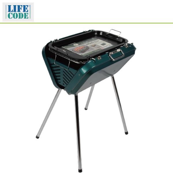 【LIFECODE】提箱型烤肉架(附烤盤)-寬50cm