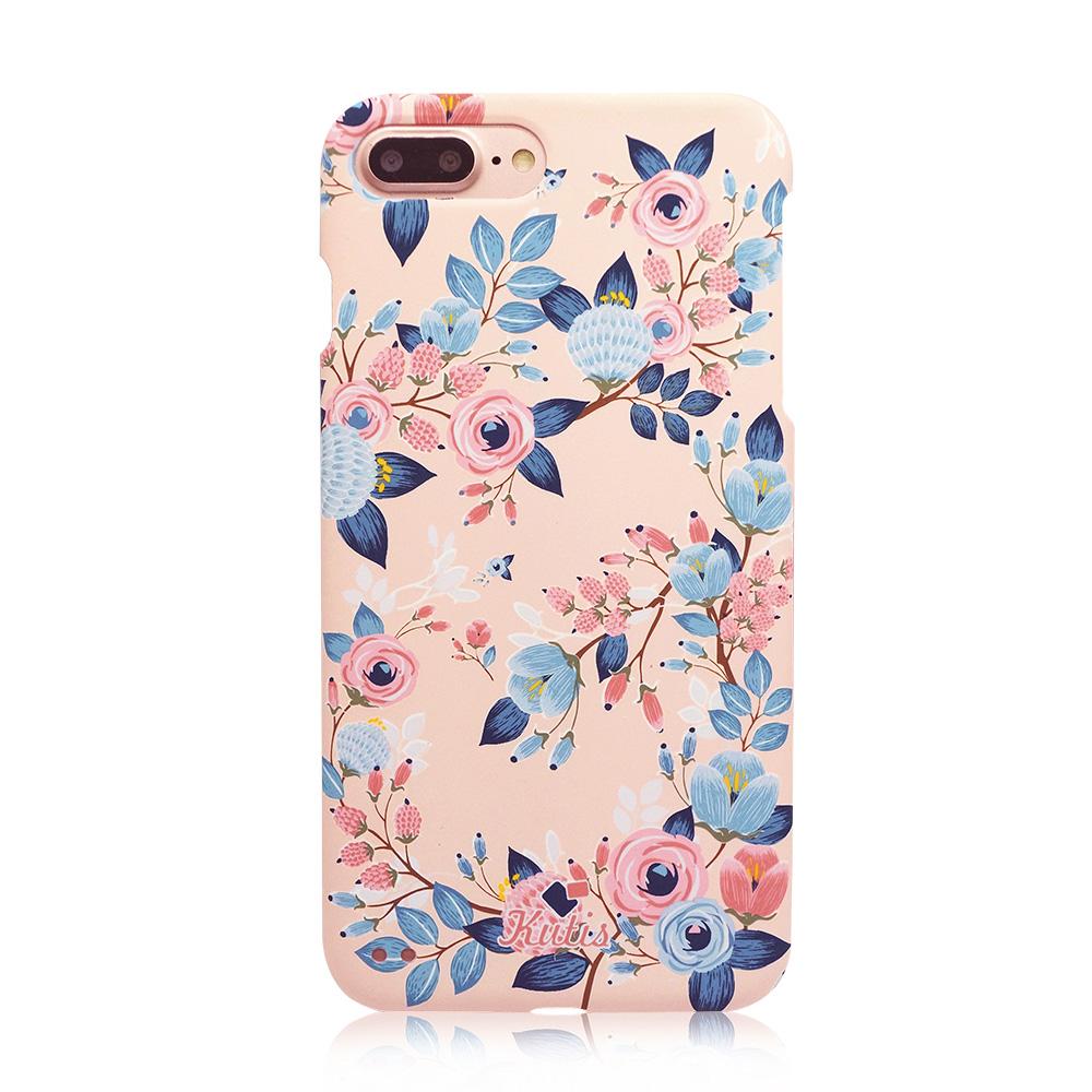 KUTIS iPhone 7Plus / 8Plus專用 花系列正反全包手機保護殼【贈】保貼-粉