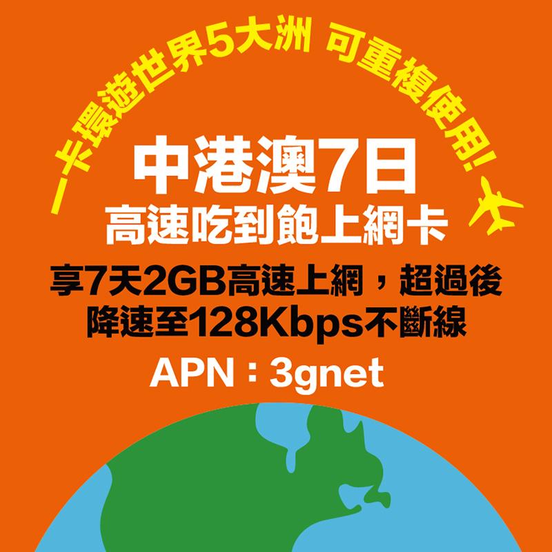 【不挑手機機型】中國、香港、澳門7天吃到飽上網卡 (2GB到量降速128Kbps)