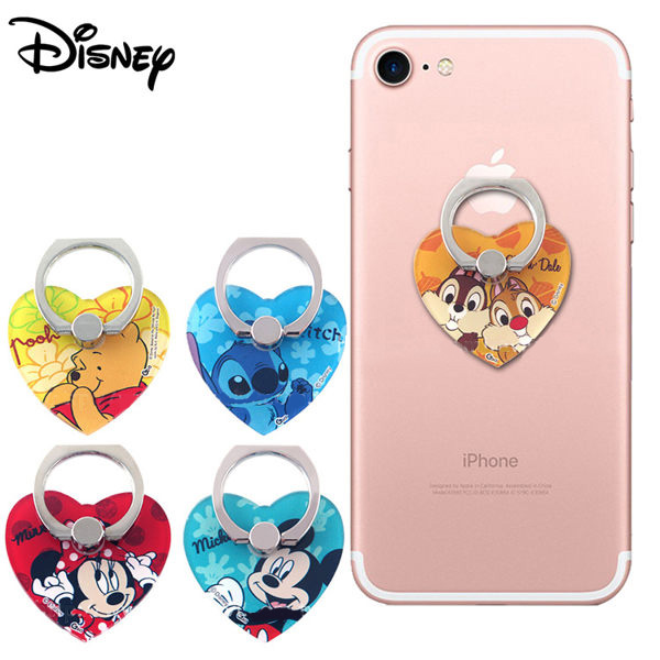 【Disney迪士尼】指環扣(愛心型)手機支架(二入隨機出貨不挑款)